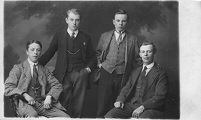 Vintage REAL PHOTO Sepia Postcard Family Portrait Photograph Brothers??