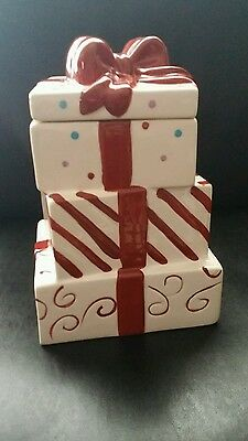 Ceramic Holiday Gift Box Cookie Jar
