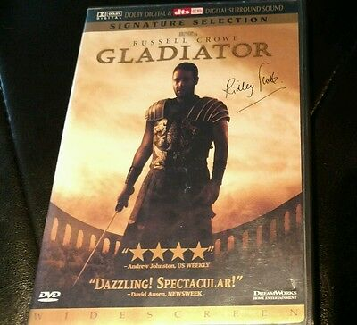 Ridley Scott Autograph, signed Gladiator DVD Russel Crowe