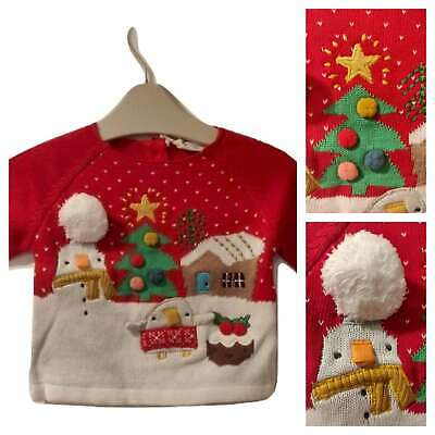 NEXT Baby Boys Girls  Christmas Xmas Reindeer Jumper Fluffy Nose BNWT 0-3 3-6