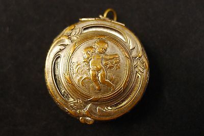 Rare Antique Art Nouveau/Deco Pendant Compact, Signed- Silver on Brass.Mirrored