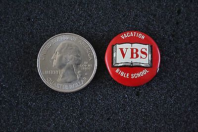 VBS Vacation Bible School Red and White Bible Pin Pinback Button #22297