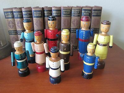 A  lot collection of 9 Rare Antique peg wood toy dolls jointed 4 to 6 inch