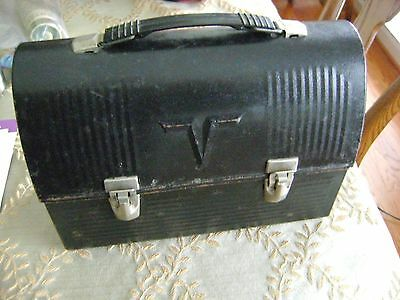 Vintage Thermos Black Metal Lunch Box Pail V Dome