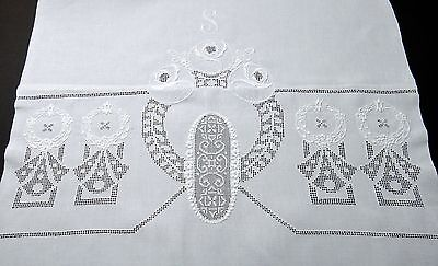 "DECO Embroidery Drawn Work LINEN BATH TOWEL 50"" Mono ""S"" - INTRICATE Hand Work!"