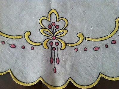 Beautiful Antique Arts & Crafts Embroidered Linen Table Topper in Yellow/Red