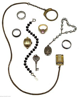VTG/Antique MIXED JEWELRY LOT Sterling Rings BRACELETS Money Clip WATCH Charms +