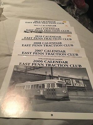 Lot Of 7 East Penn Traction Club Calendars Trolley Reading Philadelphia