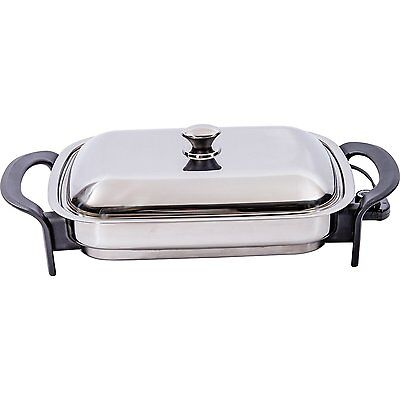 Precise Heat 16-Inch Rectangular Surgical Non Stick Stainless Steel Electric