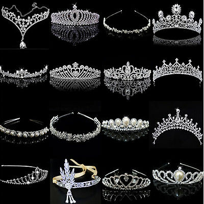 PO Bridal Wedding Crystal Flower Tiara Crown Pearl Rhinestone Hair Band Headband