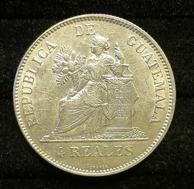 ✔ 1894 H Guatemala 4 Reales Silver Coin UNC