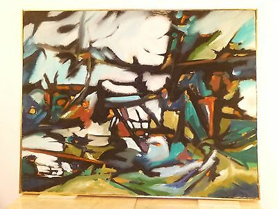 Vintage ABSTRACT MODERNIST EXPRESSIONIST OIL PAINTING Mid Century Modern 1950s