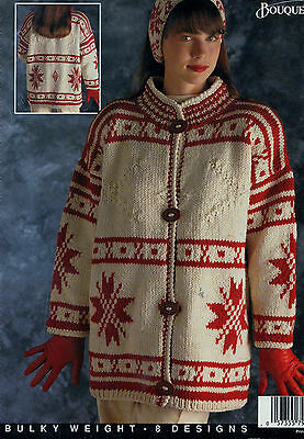 Knitting Pattern Womens Mens Cardigan Norweigan Star Beret 8 Designs