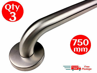 3 X SAFETY RAIL 750mm GRAB BAR STAINLESS STEEL PULL HAND BATHROOM HANDRAIL