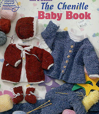 Knitting Crochet Pattern Chenille Baby Book Sacque Sweater Bonnet Booties Afghan