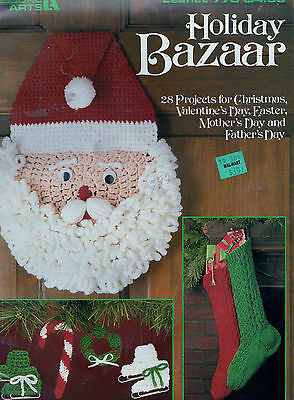Crochet Knitting Pattern Holiday Bazaar Christmas Ornaments Stocking Slippers