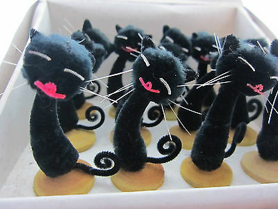 Vintage Chenille Lucky Black Cat Decorations Christmas Retro xmas Wedding 1960's