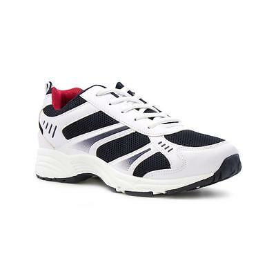 Mens Trainer Lace Up Trainer in White & Navy by Podium