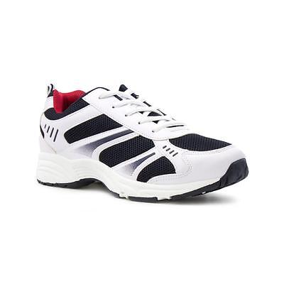 Tick Mens White and Navy Lace Up Trainer - Sizes 4,5,6,7,8,9,10,11,12,13