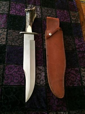 Rare Happy Jack Chuck Galitis Bowie Knife W Sheath Stag Horn Handle Unused