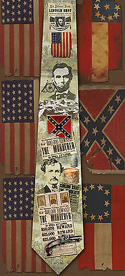 New John Wilkes Booth/Abraham Lincoln assassination poly satin neck tie