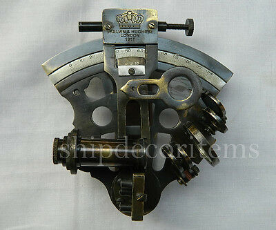 Vintage Brass Ship Sextant Collectible Marine Astrolabe Working Antique Sextant