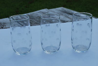 3 - 5 inch Unknown Maker Juice Glasses Etched circles / dots - NICE!!!