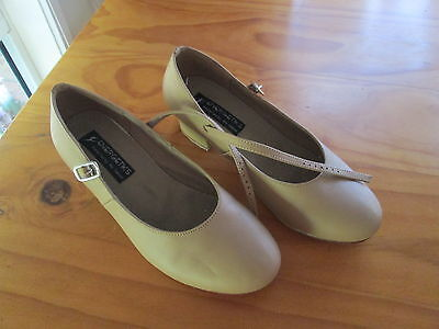 ENERGETIKS   size  7 - 7.5   Light Tan LEATHER Dance Shoes -  NEW    #4