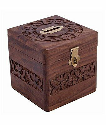 Wooden Coins Storage Box, Money Bank with Carving work and Lock. piggy bank for