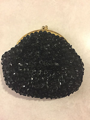 """Vintage women's shimmery black coin purse 4"""" X 4"""""""