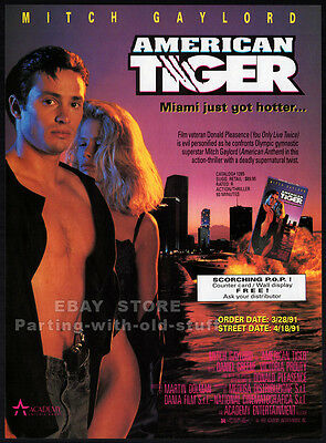 AMERICAN TIGER__Orig. 1991 Trade AD movie promo__MITCH GAYLORD__Donald Pleasence