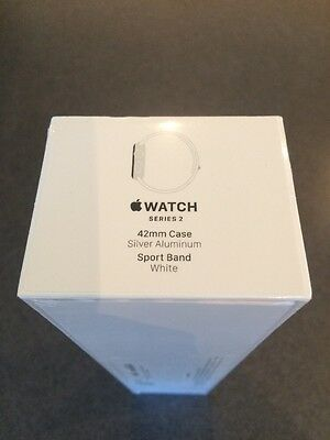 Apple Watch Series 2, 42mm Silver Aluminium Case White Sport Band Brand New