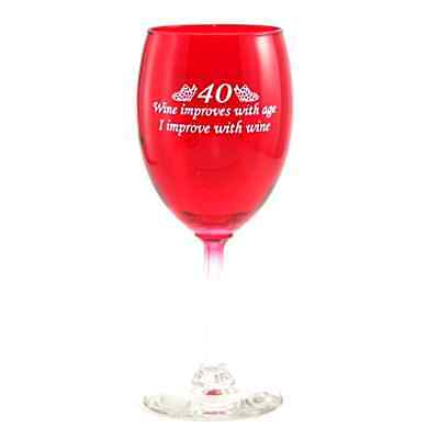 40 Age Improves Wine Glass
