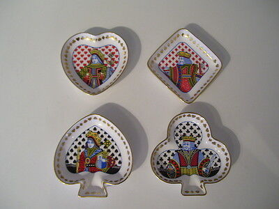 Rare Spode China Porcerlain Bridge Snack Set 4 Pieces Playing Cards Kings Queens