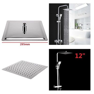 "High Quality Large 12"" Chrome Square Stainless Rainfall Overhead Shower Head UK"