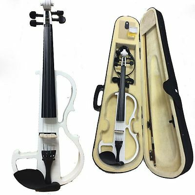 Electric Violin 4/4 Electric Violin +Bow +Case+Rosin+Bridge+Cable-White Color