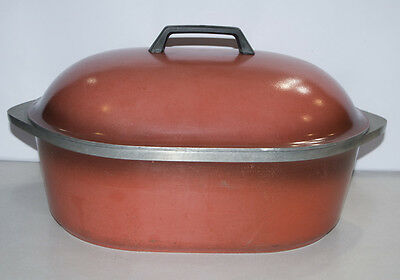 Vintage CLUB ALUMINUM Cookware RED 10 QT Oval Roaster Roasting Pan with LID