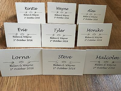 50 X Art Deco / Vintage Wedding Place Cards With Pearls / Diamantes Personalised