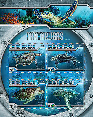 Guinea-Bissau 2016 MNH Turtles 4v M/S Tartarugas Sea Turtle Reptiles Stamps