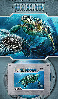 Guinea-Bissau 2016 MNH Turtles 1v S/S Tartarugas Sea Turtle Reptiles Stamps