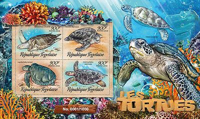 Togo 2016 MNH Turtles 4v M/S Tortues Hawksbill Sea Turtle Reptiles Stamps