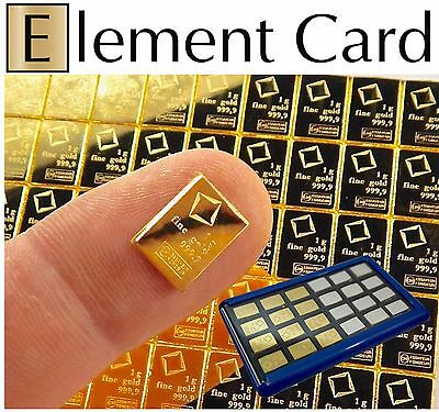 Element Card & 1 Gram 999.9 Pure Solid Fine Gold Bullion Valcambi Combibar Bar
