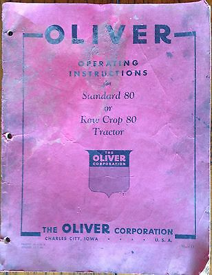 THE OLIVER CORPORATION Operating Instructions for STANDARD 80 or ROW CROP 80