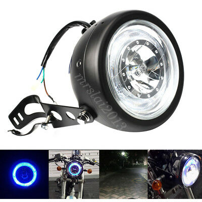 "Motorcycle 6 1/2"" Projector Angel Eye Headlight & Bracket For Cafe Racer Bobber"