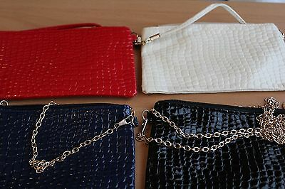 Wholesale/Joblot x4 Crocodile Bags/Clutch with Shoulder Straps and Gold Zips