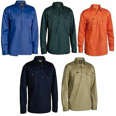 Bisley Work Shirt Closed Front/half Button Long Sleeve 100% Cotton Bsc6433