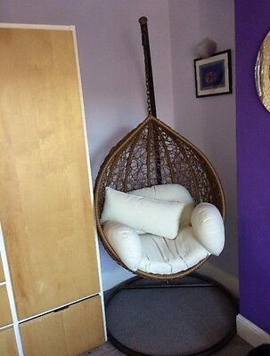 Indoor & Outdoor Child/small Adult's Rattan Hanging Swing Chair with Cushions