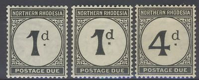 Northern Rhodesia 1929 postage dues 1d.(2), 4d. LMM SG £14