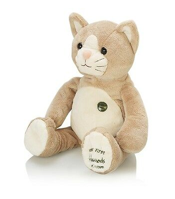 HARRODS BEAR FAMOUS GREEN BUTTON MY FIRST KITTEN - First Gift for baby