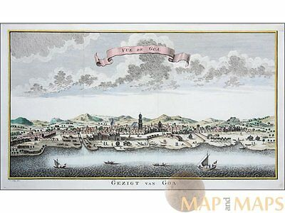 Vue de Goa – Gezicht van Goa India - Old print Bellin 1752